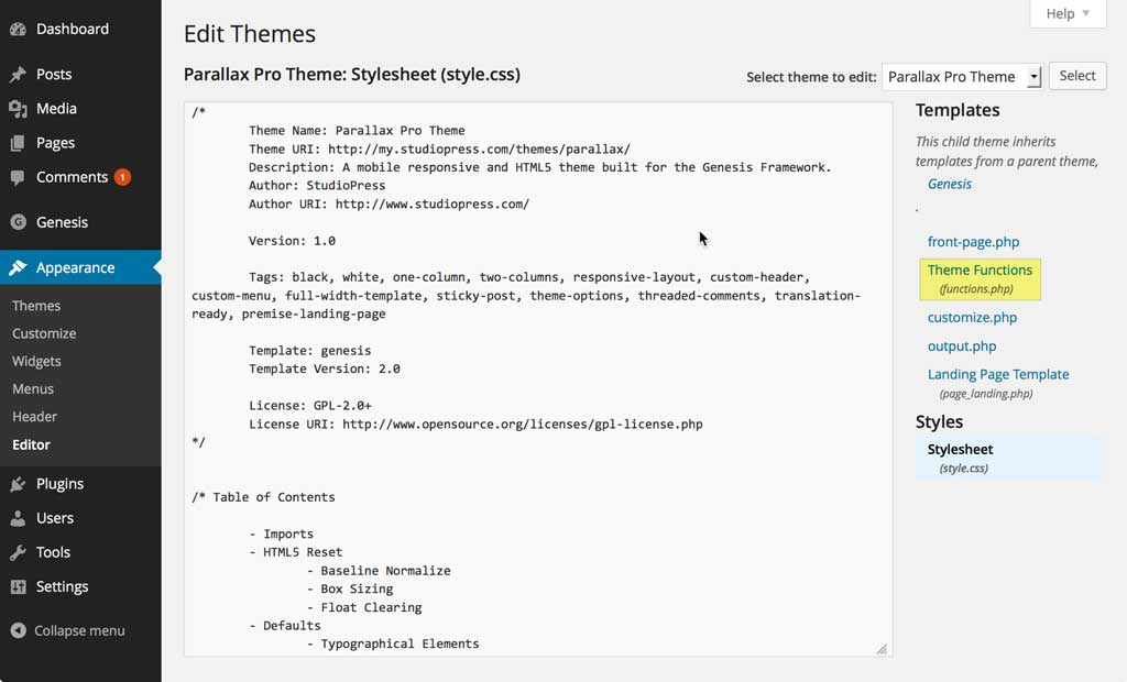 Built-in WordPress Theme Editor