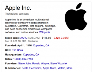 Screen Capture of Google's Knowledge Graph for Apple, Inc.