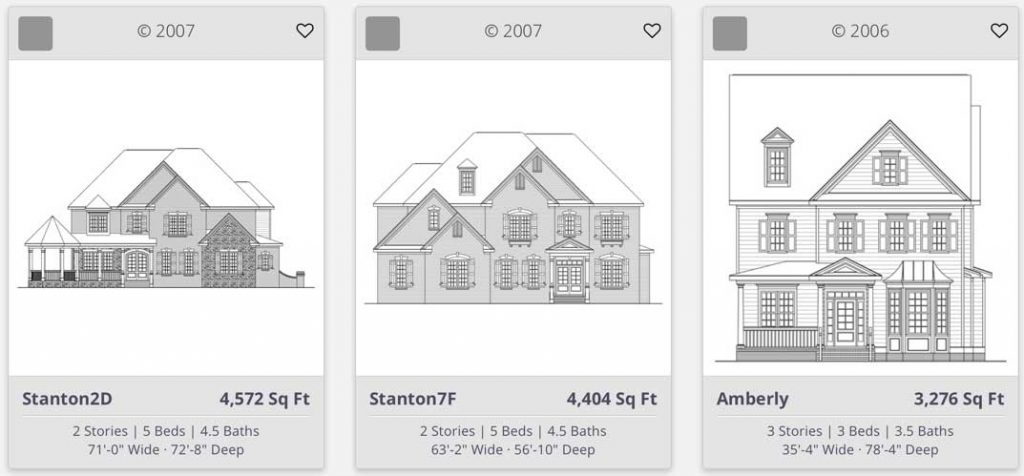 Row of house plans from http://shdplans.com/