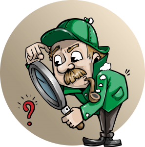 Detective with Magnifying Glass—Public domain image courtesy of pixabay.com