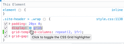 Firefox CSS Grid Highlighter screen capture